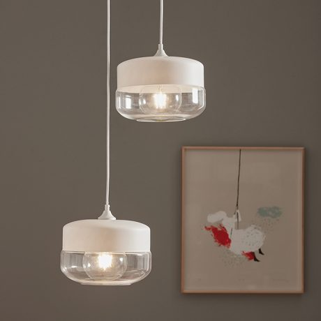 Ausel suspension lamp made of white and transparent glass