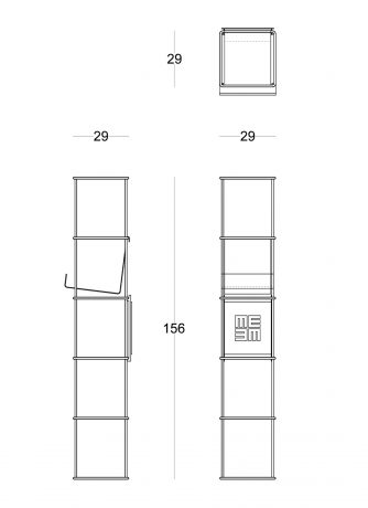 Modular wall bookcase Libro Verticale technical drawing