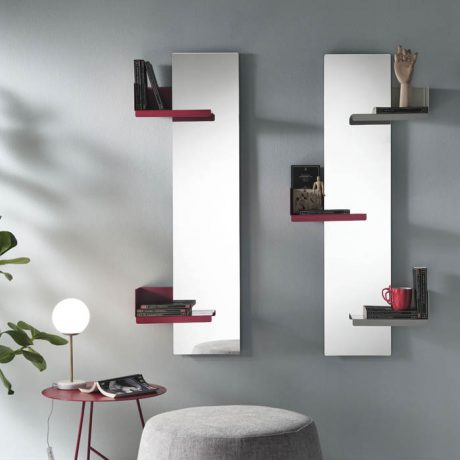 CACTUS wall mirror with shelves