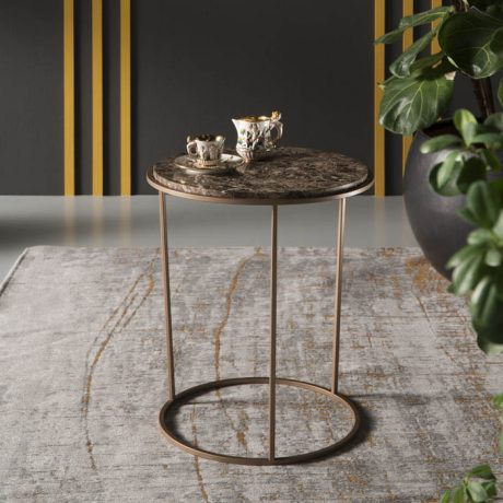 Coffee table COSTANCE with Emperador marble top and gold metal frame