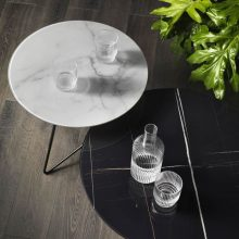 Elegant coffee tables ERMIONE with marble glass top Memedesign