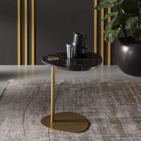 HUG coffee table with Marquinia marble top and gold legs