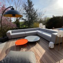 Outdoor coffee tables and poufs